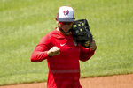 Washington Nationals' Anibal Sanchez holds up a fist to a staff member as the Washington Nationals hold their first training camp work out at Nationals Stadium, Friday, July 3, 2020, in Washington. (AP Photo/Andrew Harnik)