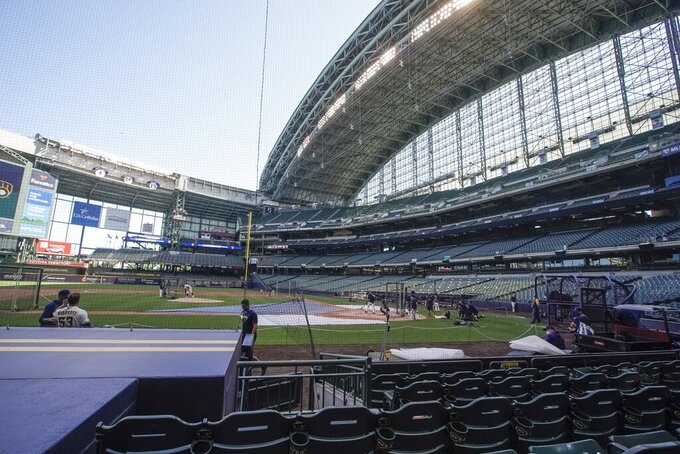 Milwaukee Brewers during a practice session Saturday, July 4, 2020, at Miller Park in Milwaukee. (AP Photo/Morry Gash)