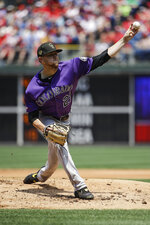 Colorado Rockies starting pitcher Kyle Freeland throws during the first inning of a baseball against the Philadelphia Phillies, Sunday, May 19, 2019, in Philadelphia. (AP Photo/Matt Rourke)