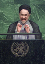 "FILE - In this Sept. 21, 1998, file photo, Iranian President Mohammad Khatami gestures during his address to the opening session of the 53rd General Assembly Monday, at the United Nations. The relatively moderate Mohammad Khatami, president of Iran from 1997 to 2005, addressed the General Assembly several times, proposing a ""Dialogue Among Civilizations"" that the U.N. adopted in 2001. (AP Photo/Charles Krupa, File)"
