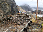 This photo provided by the California Department of Transportation (Caltrans) shows a rock slide caused by storms, Saturday, Dec. 7, 2019, in Big Sur, Calif. A winter storm brought strong wind along with heavy rain and snow across Northern California on Saturday. (Caltrans via AP)