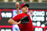 Minnesota Twins pitcher Andrew Albers throws against the Milwaukee Brewers in the first inning of a baseball game, Friday, Aug. 27, 2021, in Minneapolis. (AP Photo/Jim Mone)
