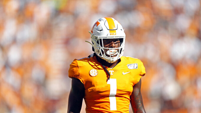 Tennessee wide receiver Marquez Callaway (1) looks on in the first half of an NCAA college football game against Georgia State, Saturday, Aug. 31, 2019, in Knoxville, Tenn. (AP Photo/Wade Payne)