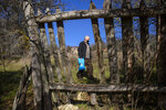 "Kosovo Albanian Fadil Rama seen through damaged wooden fence in the deserted village carrying groceries to the only resident Kosovo Serb Blagica Dicic a lonely 92-year old woman in a remote village of Vaganesh, Kosovo on Thursday, Nov. 19, 2020, abandoned by all her former ethnic Serb neighbors. Neighbor Blagica Dicic, is 92 and in failing health, in the remote ethnic Serb minority village in the mountains of eastern Kosovo but Fadil Rama comes from the other side of Kosovo's bitter ethnic divide, being a member of Kosovo's ethnic Albanian majority and Rama said he saw nothing strange in helping an elderly Serb. ""I will never leave her on her own,"" he said. (AP Photo/Visar Kryeziu)"