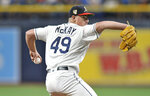 Tampa Bay Rays starter Brendan McKay pitches against the New York Yankees during first the inning of a baseball game Friday, July 5, 2019, in St. Petersburg, Fla. (AP Photo/Steve Nesius)