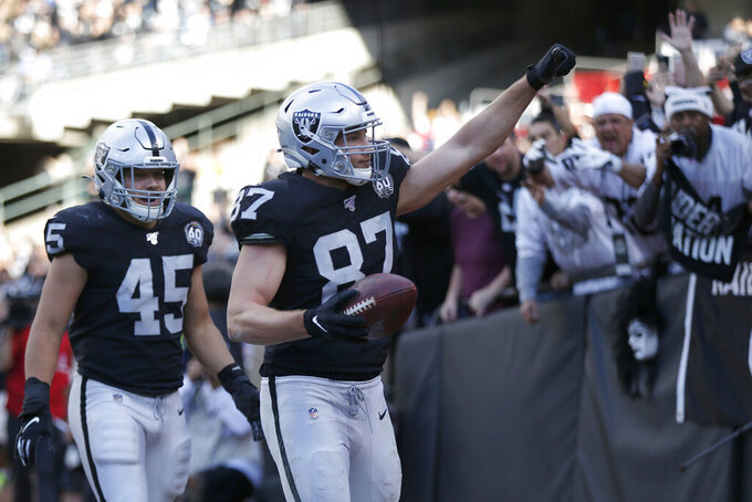Oakland Raiders tight end Foster Moreau (87) celebrates with running back Alec Ingold (45) after scoring against the Tennessee Titans during the first half of an NFL football game in Oakland, Calif., Sunday, Dec. 8, 2019. (AP Photo/D. Ross Cameron)