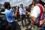 North Carolina Gov. Roy Cooper greets volunteers with NC Baptists on Missions and others at Hyde Baptist Church, Thursday, Sept. 20, 2018, in Lumberton, N.C. Cooper thanked volunteers for their time and efforts.