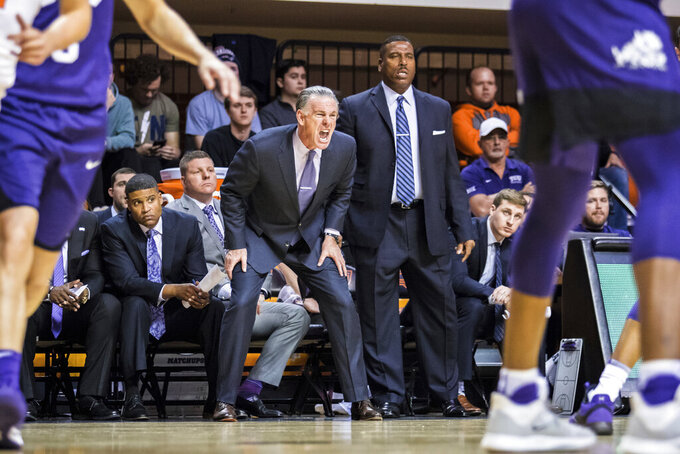 TCU coach Jamie Dixon yells during the team's NCAA college basketball game against Oklahoma State on Wednesday, Feb. 5, 2020, in Stillwater, Okla. (Devin Lawrence/Tulsa World via AP)