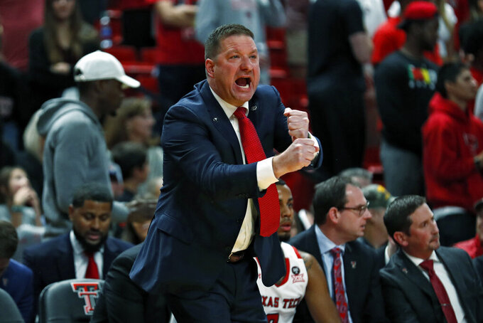 Texas Tech coach Chris Beard yells out to his players during the first half of an NCAA college basketball game against Eastern Illinois, Tuesday, Nov. 5, 2019, in Lubbock, Texas. (AP Photo/Brad Tollefson)
