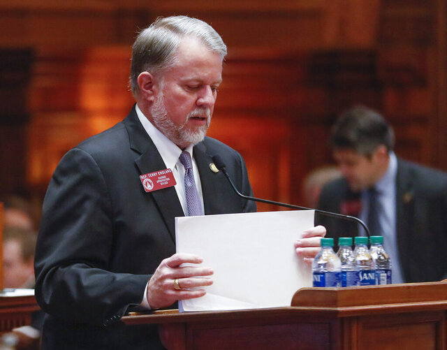 House appropriations chairman, Terry England, R - Auburn, presented HB 792, the supplemental budget for the rest of the fiscal year, which passed the house,  Wednesday, February 19, 2020. (Bob Andres/Atlanta Journal-Constitution via AP)