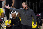Oregon coach Dana Altman gestures during the first half of the team's NCAA college basketball game against Stanford in Stanford, Calif., Thursday, Feb. 25, 2021. (AP Photo/Jeff Chiu)