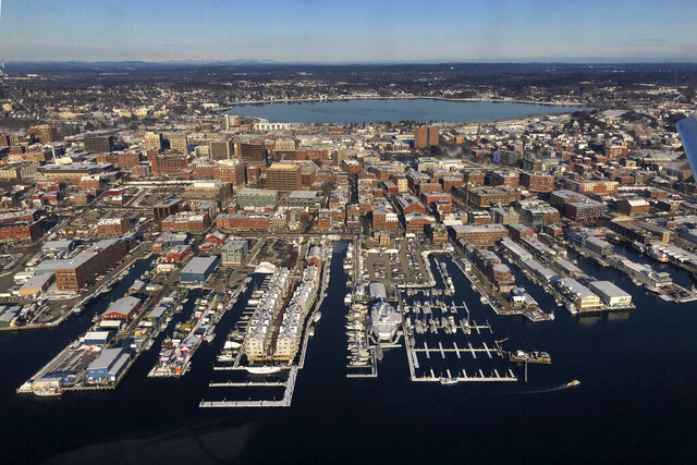 FILE - In this Wednesday, Jan. 22, 2020, file photo, shows the waterfront in Portland, Maine. On Thursday, Jan. 30, the Commerce Department issues the first estimate of how the U.S. economy performed in the fourth quarter. (AP Photo/Robert F. Bukaty, File)