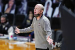 Mississippi State head coach Ben Howland yells to his players in the first half of an NCAA college basketball game against Vanderbilt Saturday, Jan. 9, 2021, in Nashville, Tenn. (AP Photo/Mark Humphrey)