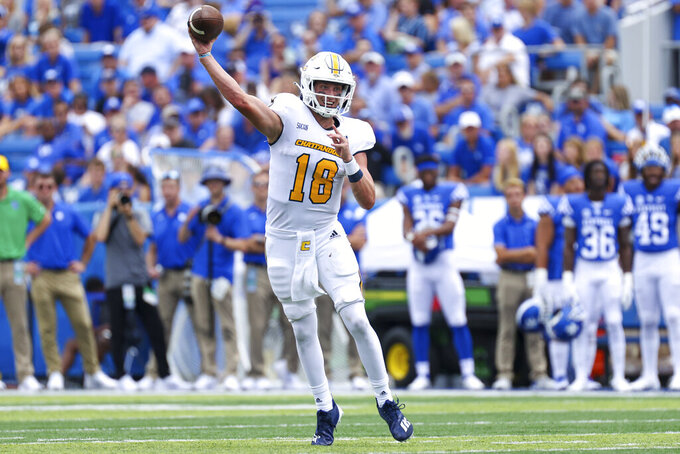 Chattanooga quarterback Cole Copeland (18) throws a pass during the second half of a NCAA college football game against Kentucky in Lexington, Ky., Saturday, Sept. 18, 2021. (AP Photo/Michael Clubb)