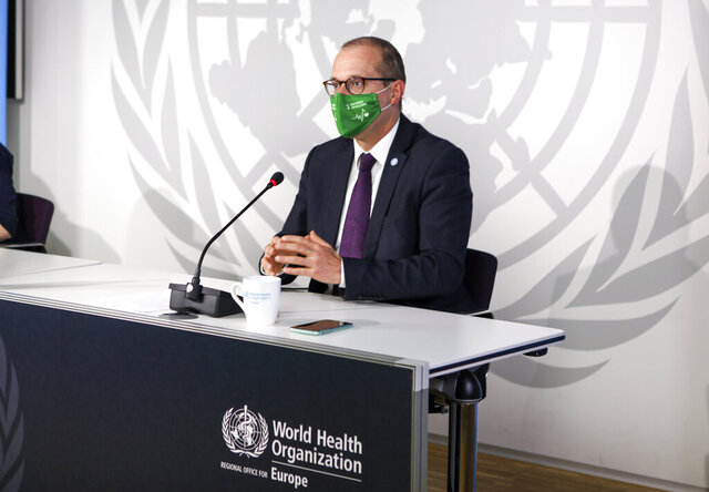 "In this photo provided by the World Health Organization, Dr. Hans Kluge, regional director for WHO Europe, gestures during a virtual news conference at its headquarters in Copenhagen, Denmark, on Thursday, Oct. 15. The head of the World Health Organization's Europe office said the exponential surge of coronavirus cases across the continent has warranted the restrictive measures being taken, calling them ""absolutely necessary"" to stop the pandemic. In a meda briefing on Thursday, Dr. Hans Kluge warned that even more drastic steps might be needed in such ""unprecedented times."" (David Barrett/World Health Organization via AP)"