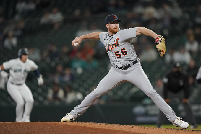 Detroit Tigers starting pitcher Spencer Turnbull throws to a Seattle Mariners batter during the fourth inning of a baseball game Tuesday, May 18, 2021, in Seattle. (AP Photo/Ted S. Warren)