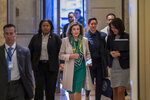 Speaker of the House Nancy Pelosi, D-Calif., arrives to meet with the Democratic Caucus at the Capitol in Washington, Tuesday, Jan. 14, 2020.  (AP Photo/J. Scott Applewhite)