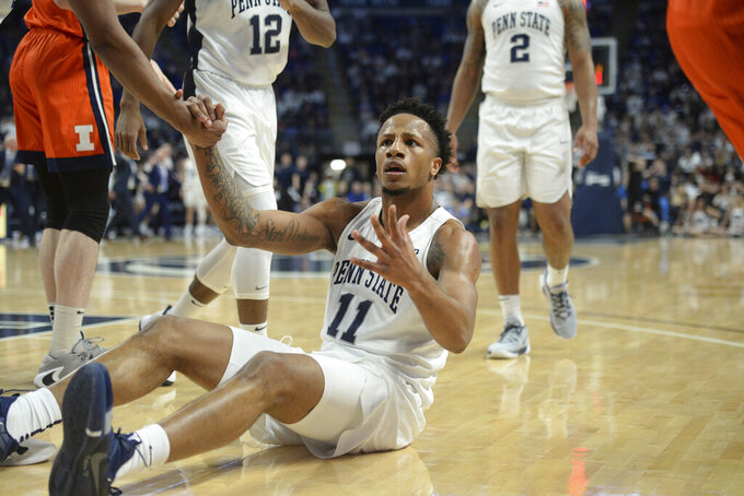 Penn State's Lamar Stevens (11) looks for a call after colliding with an Illinois player during the first half of an NCAA college basketball game Tuesday, Feb. 18, 2020, in State College, Pa. (AP Photo/Gary M. Baranec)