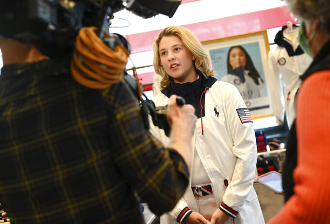 Skateboarder Jordyn Barratt participates in the Team USA Tokyo Olympic closing ceremony uniform unveiling at the Ralph Lauren SoHo Store on April 13, 2021, in New York. Ralph Lauren is an official outfitter of the 2021 U.S. Olympic Team. (Photo by Evan Agostini/Invision/AP)