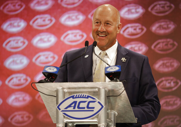 Boston College head coach Steve Addazio answers a question during a news conference at the NCAA Atlantic Coast Conference college football media day in Charlotte, N.C., Thursday, July 19, 2018. (AP Photo/Chuck Burton)