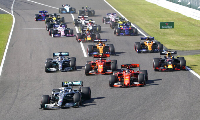 Mercedes driver Valtteri Bottas of Finland leads the field into turn one at the start of the Japanese Formula One Grand Prix at Suzuka Circuit in Suzuka, central Japan, Sunday, Oct. 13, 2019. (AP Photo/Toru Hanai)