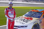 Chase Elliott waits on pit road before the start of the NASCAR Clash auto race at Daytona International Speedway, Tuesday, Feb. 9, 2021, in Daytona Beach, Fla. (AP Photo/John Raoux)