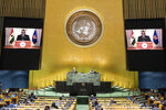 In this photo provided by the United Nations, the pre-recorded message of Nana Addo Dankwa Akufo-Addo, President of Ghana, is played during the 75th session of the United Nations General Assembly, Wednesday Sept. 23, 2020, at U.N. headquarters in New York. (Eskinder Debebe/United Nations via AP)