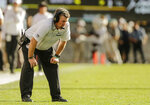 Colorado head coach Mike MacIntyre reacts during the second half of an NCAA college football game against Oregon State, Saturday, Oct. 27, 2018, in Boulder, Colo. (AP Photo/Jack Dempsey)