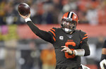 Cleveland Browns quarterback Baker Mayfield throws during the first half of the team's NFL football game against the Pittsburgh Steelers, Thursday, Nov. 14, 2019, in Cleveland. (AP Photo/David Richard)