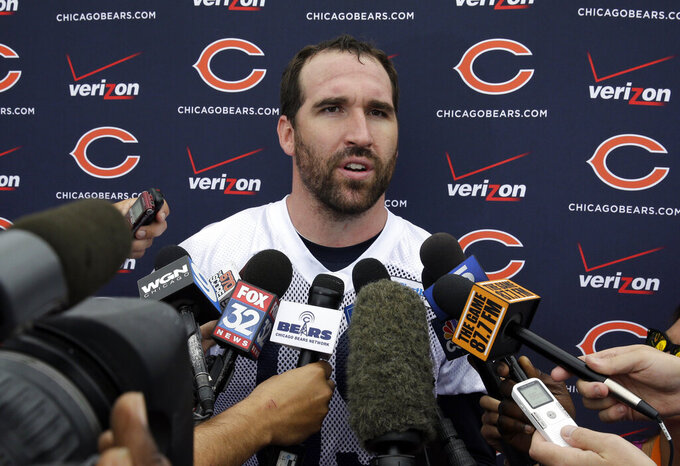 FILE - Chicago Bears defensive end Jared Allen (69) talks to the media at a news conference after the team's NFL football training camp at Olivet Nazarene University in Bourbonnais, Ill., in this Friday, July 25, 2014, file photo. Allen is one of four first-year-eligible 2021 finalists for entry into the Pro Football Hall of Fame. (AP Photo/Nam Y. Huh, File)