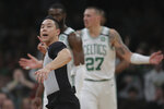 Referee Evan Scott ejects Boston Celtics guard Kemba Walker during the third quarter of an NBA basketball game against the San Antonio Spurs, Wednesday, Jan. 8, 2020 in Boston. (AP Photo/Charles Krupa)