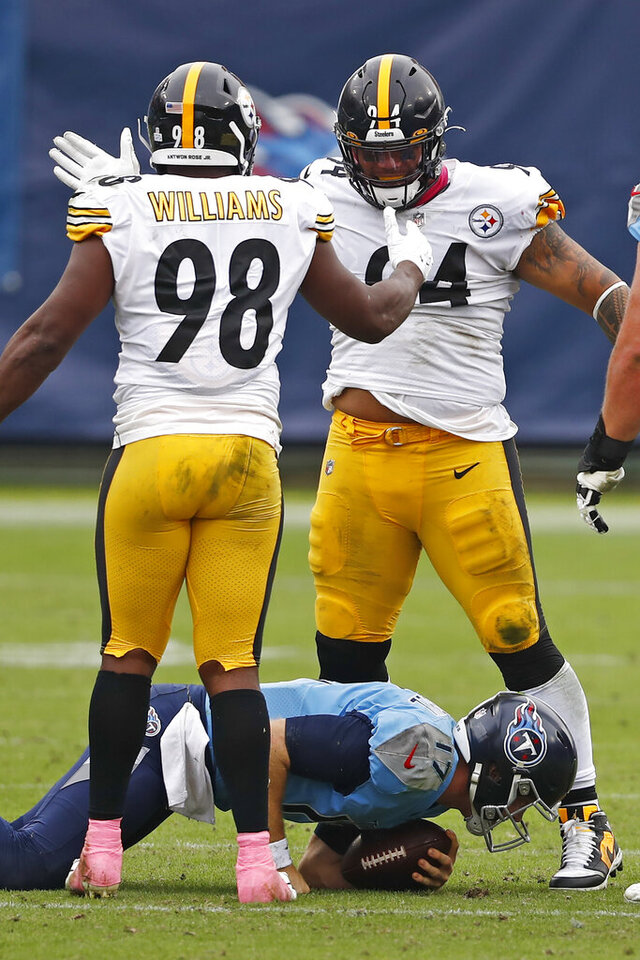 Pittsburgh Steelers inside linebacker Vince Williams (98) celebrates with nose tackle Tyson Alualu (94) after Williams sacked Tennessee Titans quarterback Ryan Tannehill (17) for a 3-yard loss in the second half of an NFL football game Sunday, Oct. 25, 2020, in Nashville, Tenn. (AP Photo/Wade Payne)