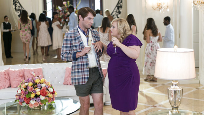 This image released by Warner Bros. Pictures shows Brandon Scott Jones, left, and Rebel Wilson in a scene from