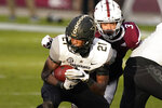 Vanderbilt running back Keyon Henry-Brooks (21) catches a pass in front of Mississippi State linebacker Aaron Brule (3) during the first half of an NCAA college football game in Starkville, Miss., Saturday, Nov. 7, 2020. (AP Photo/Rogelio V. Solis)