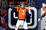 Denver Broncos quarterback Drew Lock (3) throws against the Miami Dolphins during the first half of an NFL football game, Sunday, Nov. 22, 2020, in Denver. (AP Photo/Jack Dempsey)
