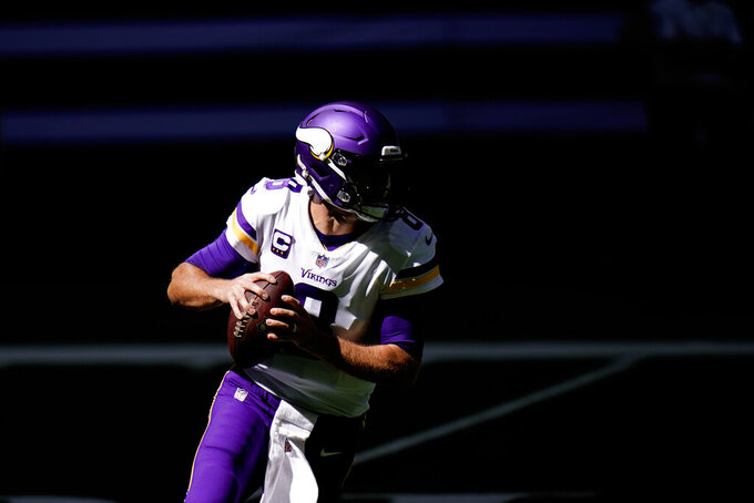 Minnesota Vikings quarterback Kirk Cousins (8) looks to throw during the first half of an NFL football game against the Indianapolis Colts, Sunday, Sept. 20, 2020, in Indianapolis. (AP Photo/AJ Mast)