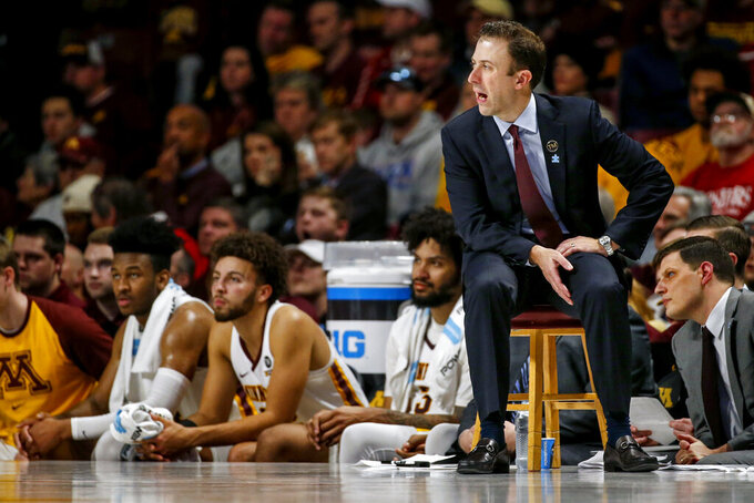 Minnesota head coach Rick Pitino instructs his team as they play Indiana at an NCAA college basketball game Saturday, Feb. 16, 2019, in Minneapolis. Minnesota won 84-63. (AP Photo/Bruce Kluckhohn)