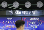 A currency trader walks by the screens showing the Korea Composite Stock Price Index (KOSPI), left, and the foreign exchange rate between U.S. dollar and South Korean won at the foreign exchange dealing room in Seoul, South Korea, Monday, Sept. 16, 2019. Asian stock markets were mixed Monday after crude prices surged following an attack on Saudi Arabia's biggest oil processing facility. (AP Photo/Lee Jin-man)