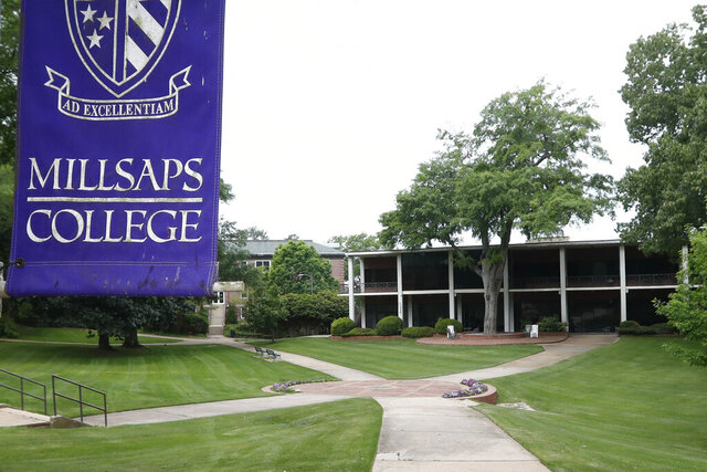 A normally student filled campus square at Millsaps College in Jackson, Miss., is deserted in face of the coronavirus, as the liberal arts school, like many others, faces financial and enrollment challenges Friday, April 3, 2020. At present, the school has switched to on-line teaching. Colleges across the nation are scrambling to close deep budget holes and some have been pushed to the brink of collapse after the coronavirus outbreak triggered a series of financial losses (AP Photo/Rogelio V. Solis)