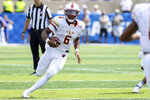 Louisiana-Monroe quarterback Hayes Crockett (6) runs the ball up the field during the second half of an NCAA college football game against Kentucky in Lexington, Ky., Saturday, Sept. 4, 2021. (AP Photo/Michael Clubb)
