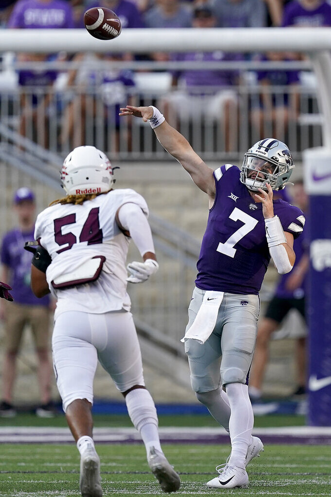 Kansas State quarterback Skylar Thompson (7) passes during the first half of an NCAA college football game against Southern Illinois, Saturday, Sept. 11, 2021, in Manhattan, Kan. (AP Photo/Charlie Riedel)