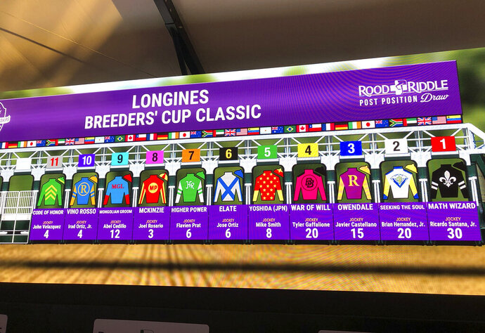 The field for the $6 million Breeders' Cup Classic at Santa Anita Park is displayed on a video board Monday, Oct. 28, 2019, at the track in Arcadia, Calif., in advance of the Breeders' Cup series of horse races this coming weekend. (AP Photo/Beth Harris)