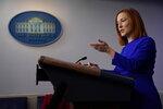 White House press secretary Jen Psaki speaks during a press briefing at the White House, Wednesday, Jan. 20, 2021, in Washington.(AP Photo/Evan Vucci)