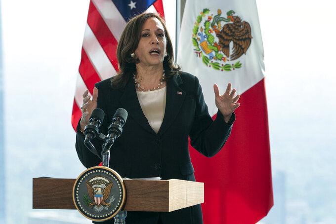 Vice President Kamala Harris speaks to the media, Tuesday, June 8, 2021, at the Sofitel Mexico City Reforma in Mexico City. (AP Photo/Jacquelyn Martin)