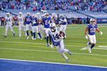 Indianapolis Colts' Zach Pascal (14) scores a touchdown during the second half of an NFL wild-card playoff football game against the Buffalo Bills, Saturday, Jan. 9, 2021, in Orchard Park, N.Y. (AP Photo/Adrian Kraus)