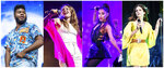 This combination of photos shows Grammy nominees, from left, Khalid performing at the Austin City Limits Music Festival in Austin, Texas on Oct. 12, 2018, Maggie Rogers performing at the Coachella Music & Arts Festival in Indio, Calif., on April 20, 2019, Ariana Grande performing at Wango Tango in Los Angeles on June 2, 2018 and Lana Del Rey performing at 2016 Outside Lands Music Festival in San Francisco on Aug. 7, 2016. The 2020 Grammy Awards will be held on Sunday. (AP Photo)