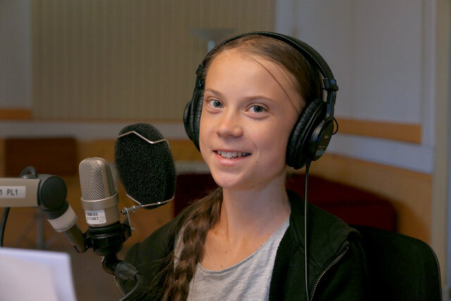 Climate activist Greta Thunberg during a radio statement at the 'Sveriges Radio' in Stockholm, Sweden, Sunday, June 14, 2020. In a wide-ranging monologue on Swedish public radio, teenage climate activist Greta Thunberg recounts how world leaders queued up to have their picture taken with her even as they shied away from acknowledging the grim scientific fact that time is running out to curb global warming. (Photo/Mattias Osterlund)