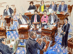 This artist sketch depicts House impeachment manager Rep. Hakeem Jeffries, D-N.Y., addressing the Senate during the impeachment trial of President Donald Trump on charges of abuse of power and obstruction of Congress, at the Capitol in Washington, Friday, Jan. 24, 2020. (Dana Verkouteren via AP)