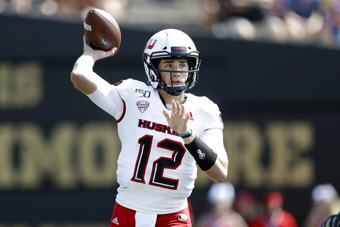 Northern Illinois quarterback Ross Bowers passes against Vanderbilt in the first half of an NCAA college football game Saturday, Sept. 28, 2019, in Nashville, Tenn. (AP Photo/Mark Humphrey)