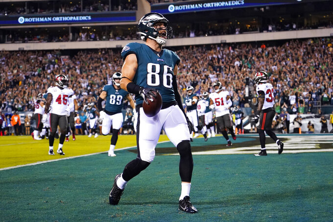 Philadelphia Eagles tight end Zach Ertz (86) celebrates a touchdown during the first half of an NFL football game against the Tampa Bay Buccaneers on Thursday, Oct. 14, 2021, in Philadelphia. (AP Photo/Matt Rourke)